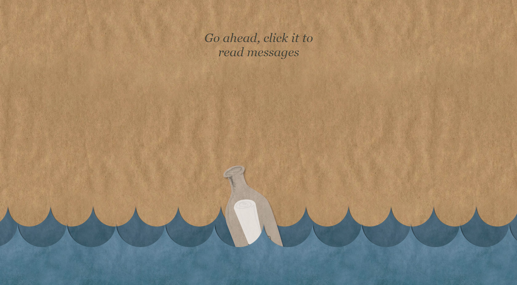 Message In A Bottle One Page Website Award
