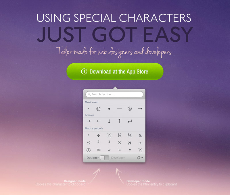 Characters Mac App site