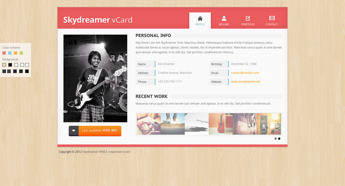 Vcard html template free download 2018 free one page best personal html jquery wordpress templates vcard responsive cool images about free one page vcard html template by maxwellsz