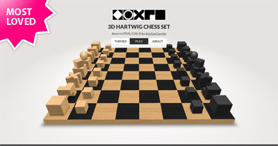 3D CSS Hartwig chess set