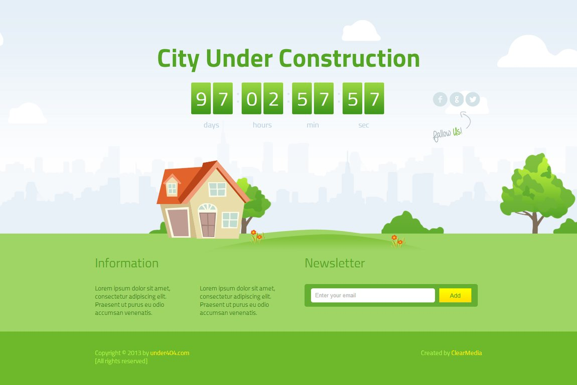 Animated City Under Construction One Page Template Review