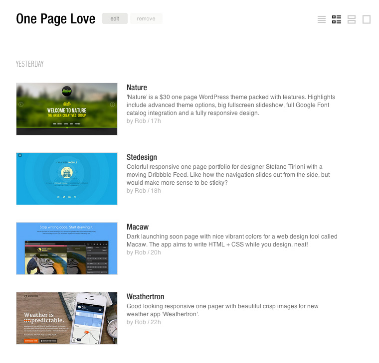 One Page Love RSS Feed on Feedly