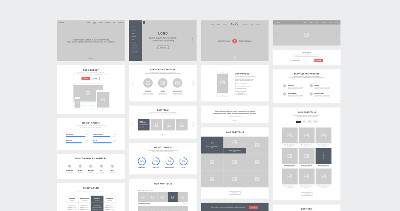 One Page Website Wireframes by Raul Taciu