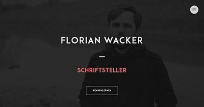 Florian Wacker. Schriftsteller.