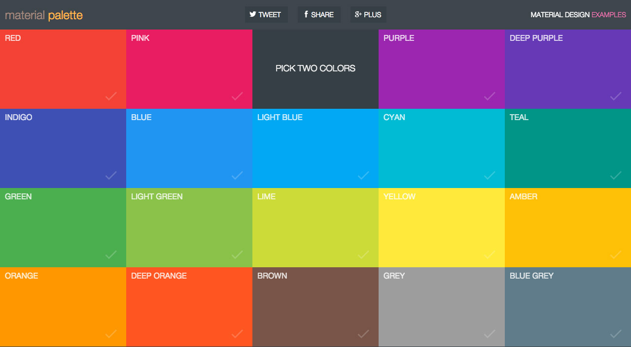 Material Palette  One Page Website