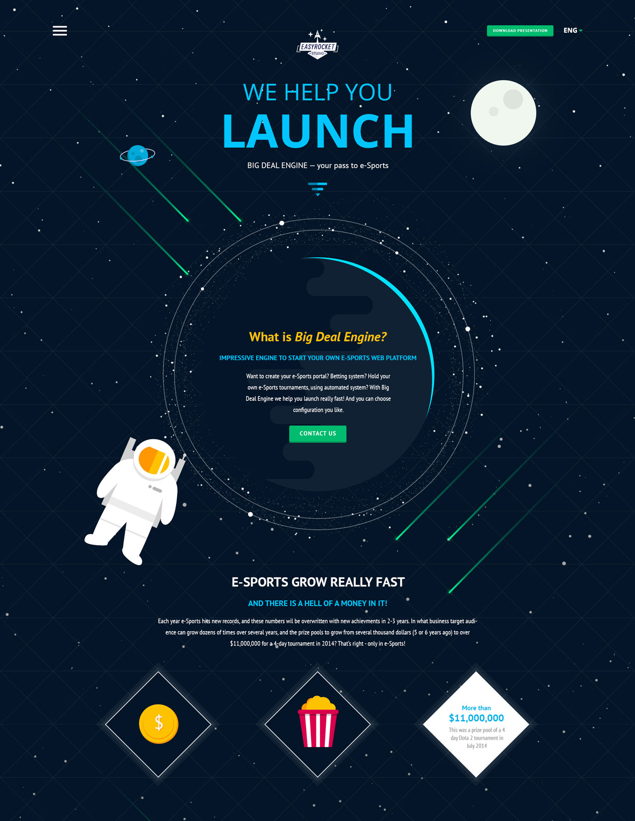 Easy rocket studio one page website award for Outer space stage design
