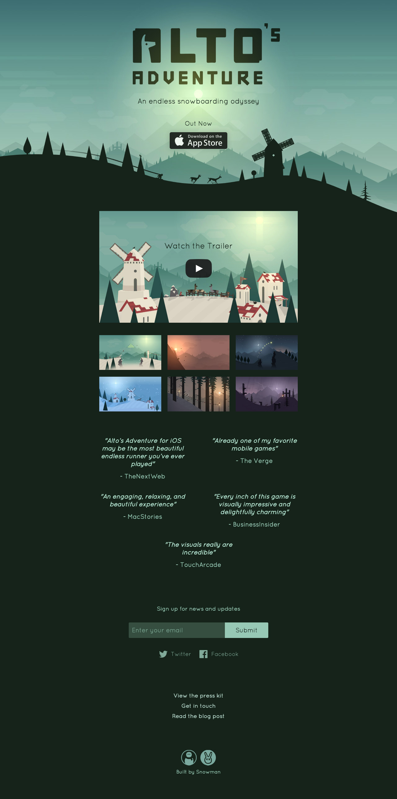 Alto   s Adventure  One Page Website