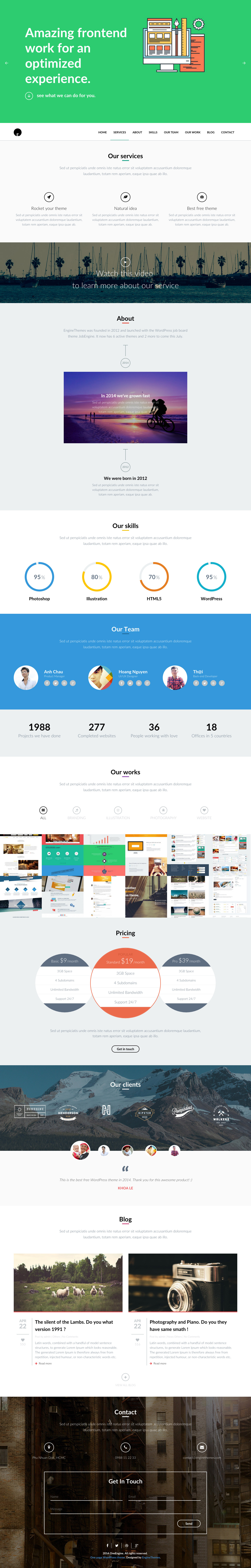 Image for OneEngine Wordpress Theme