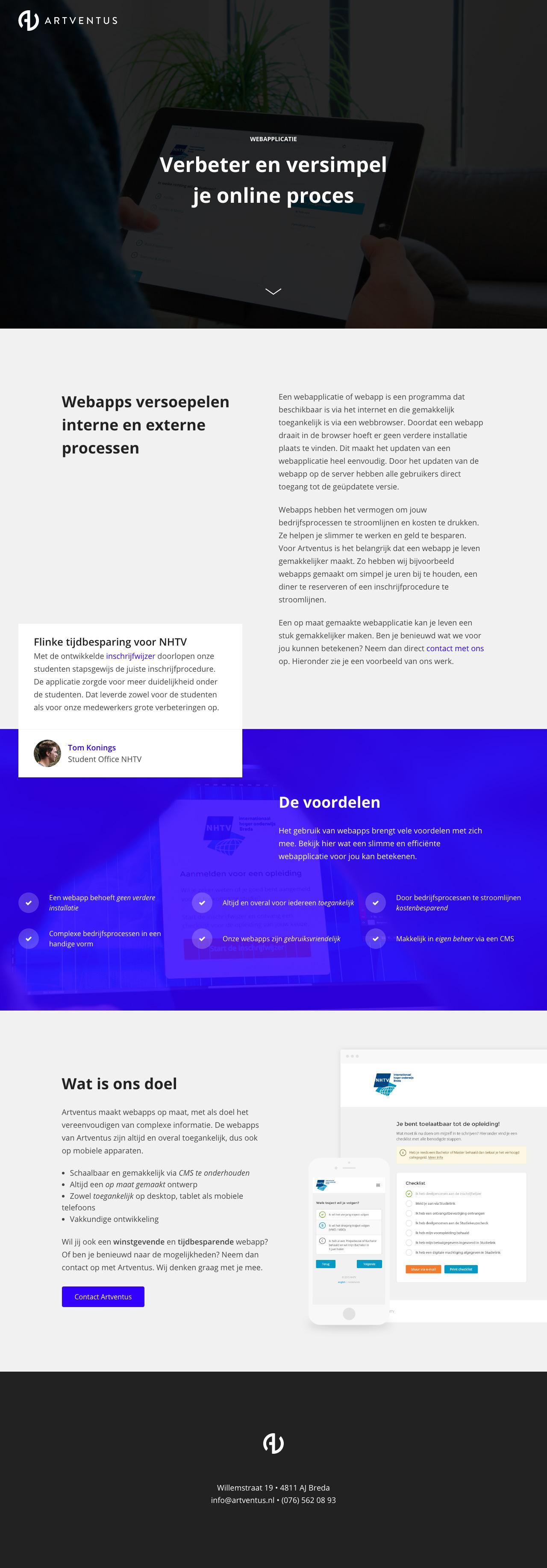 Artventus – Webapplicatie Big Screenshot