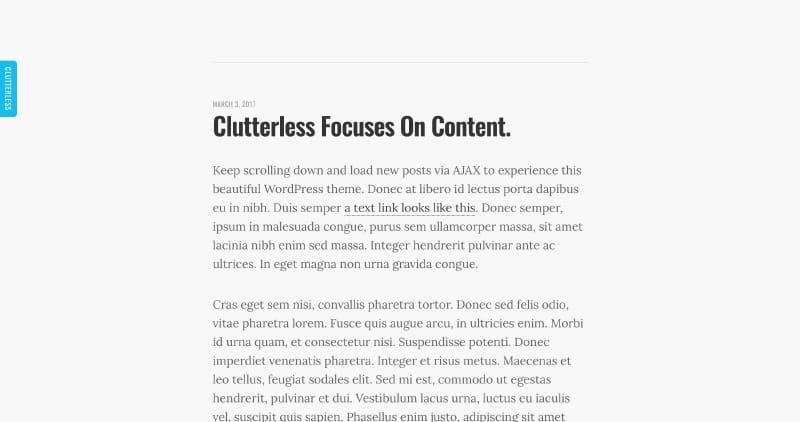 Clutterless Free WordPress Theme
