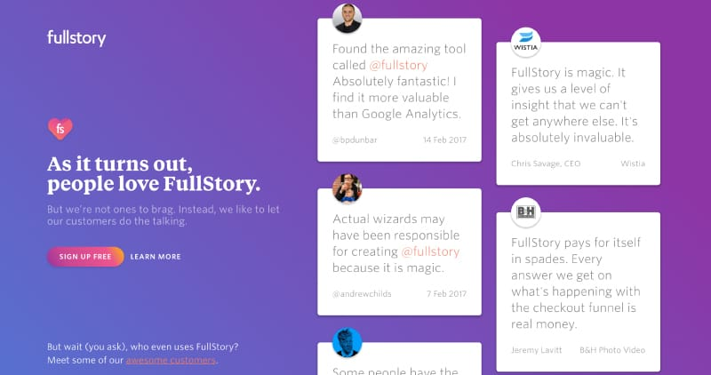 FullStory Wall of Love