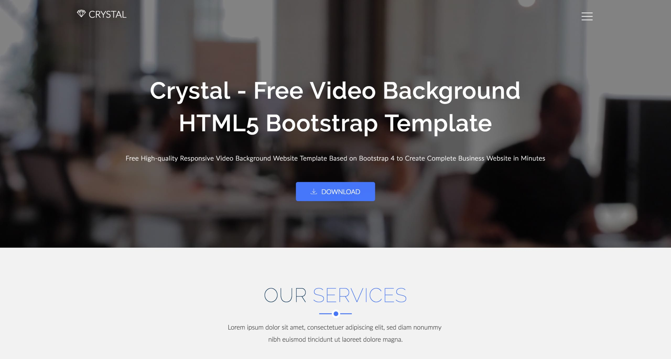 Crystal - Free One Page Template Download and Review