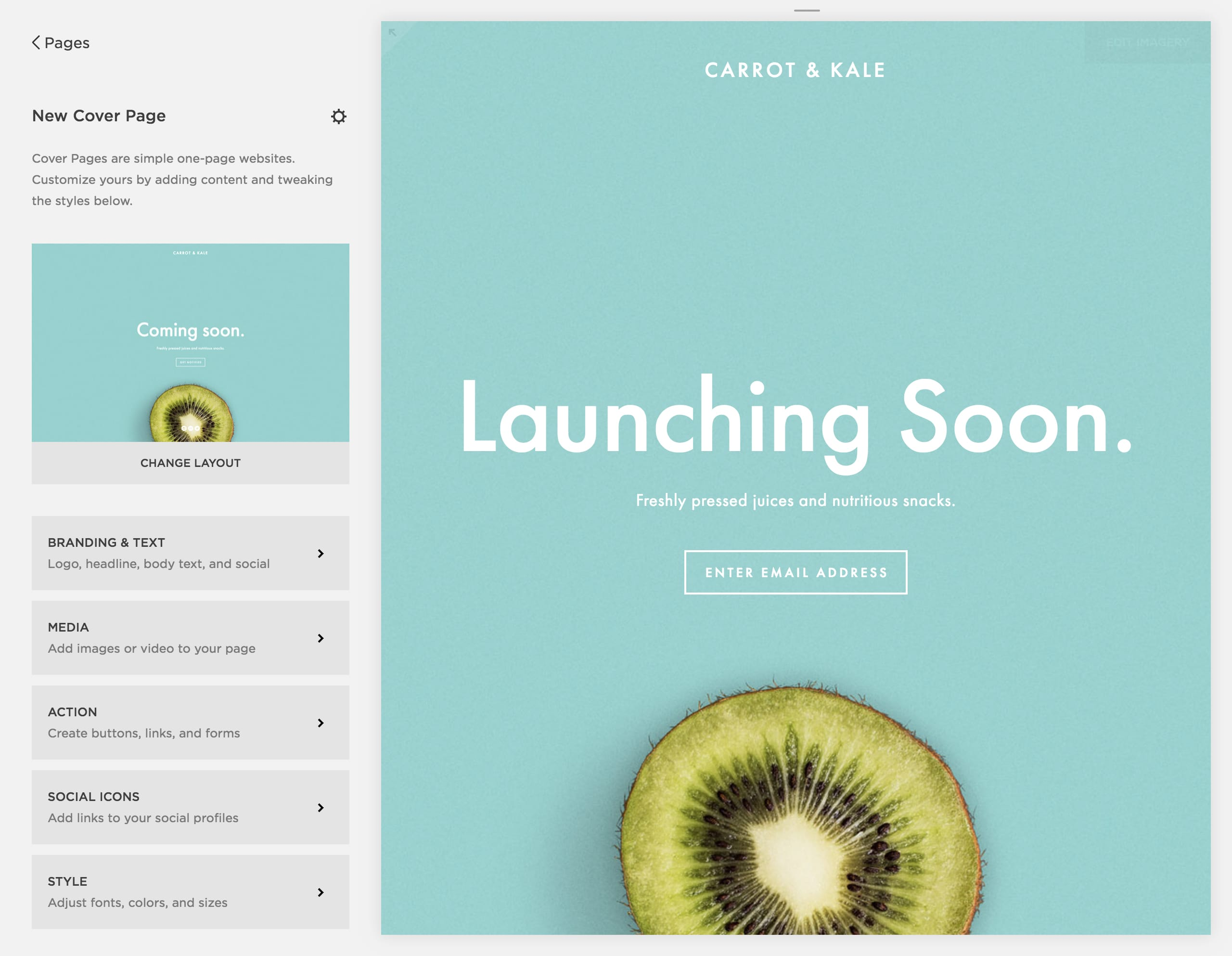 A preview of the Squarespace Cover Pages Builder