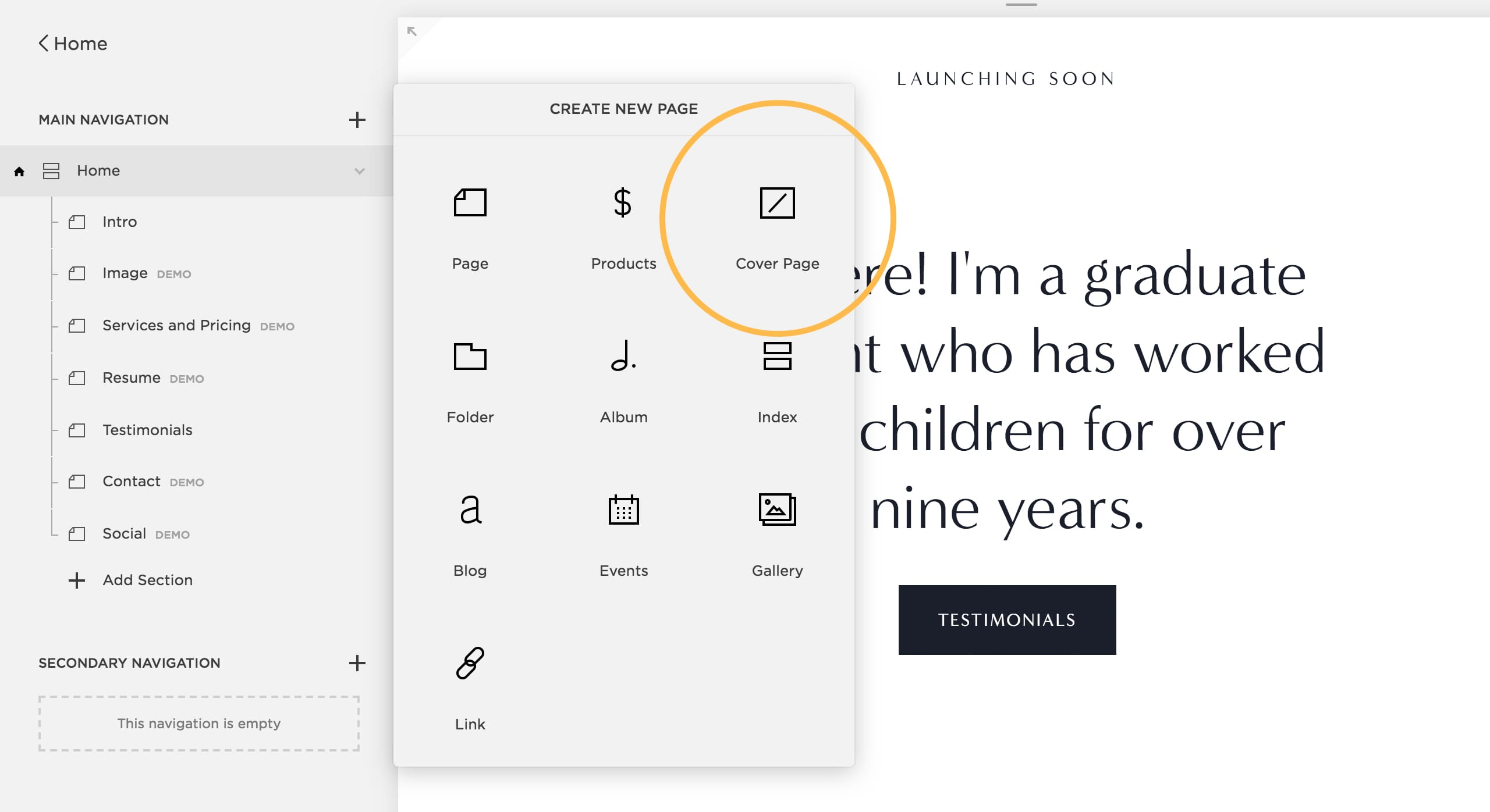 Adding a Cover Page from the Squarespace Interface