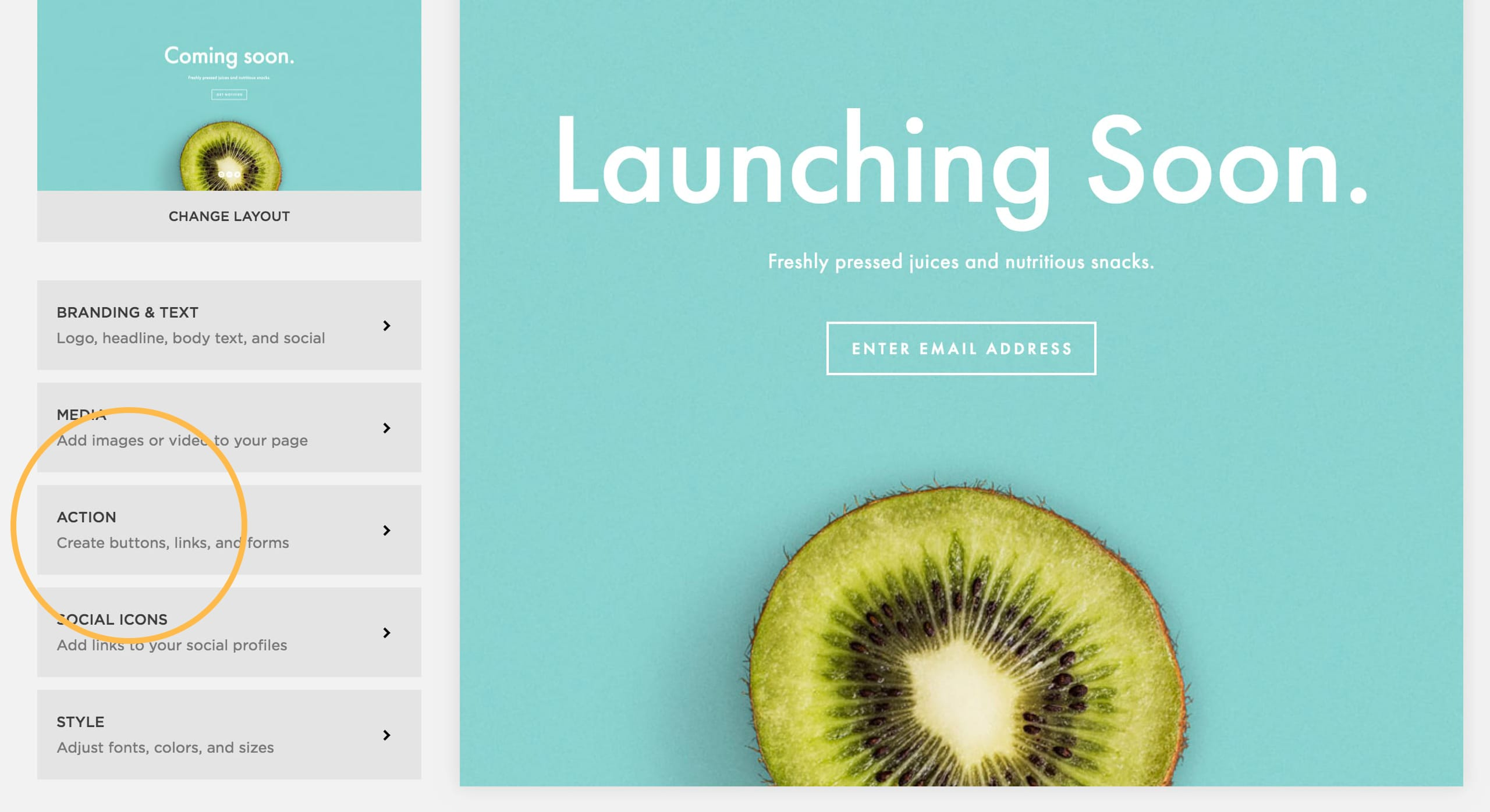 Squarespace Cover Pages Action Area