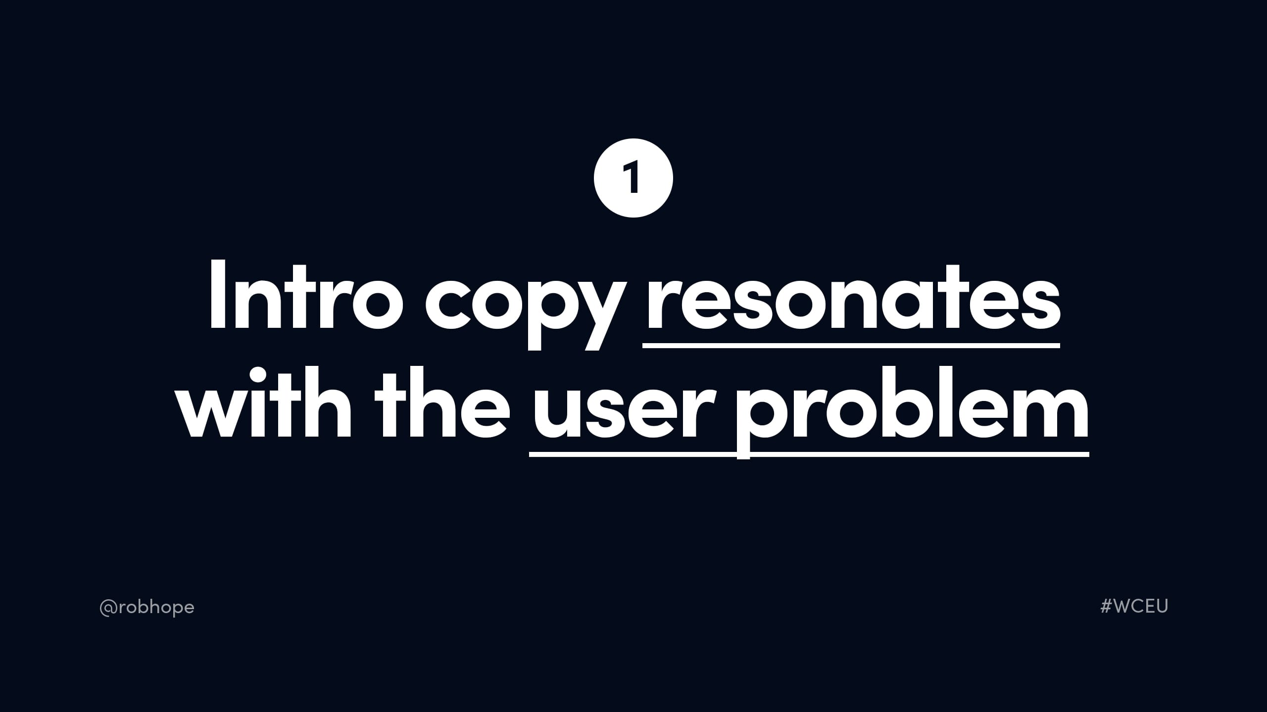Intro copy must resonate with the user problem
