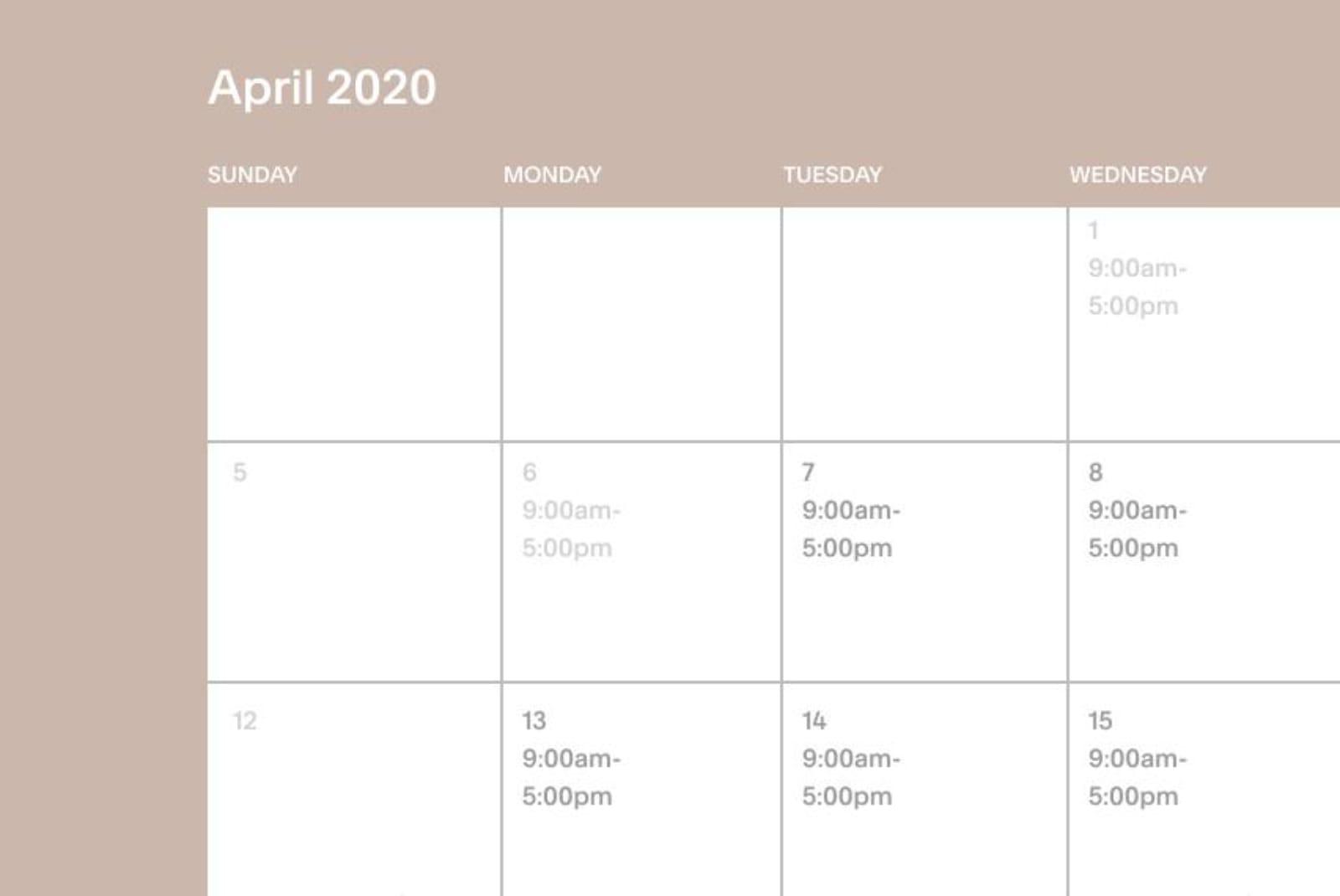 Blocking of a Squarespace Scheduling calendar