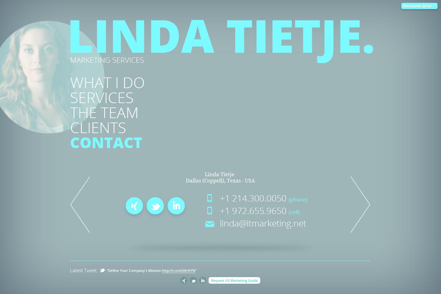 Linda Tietje. Marketing Services. Big Screenshot
