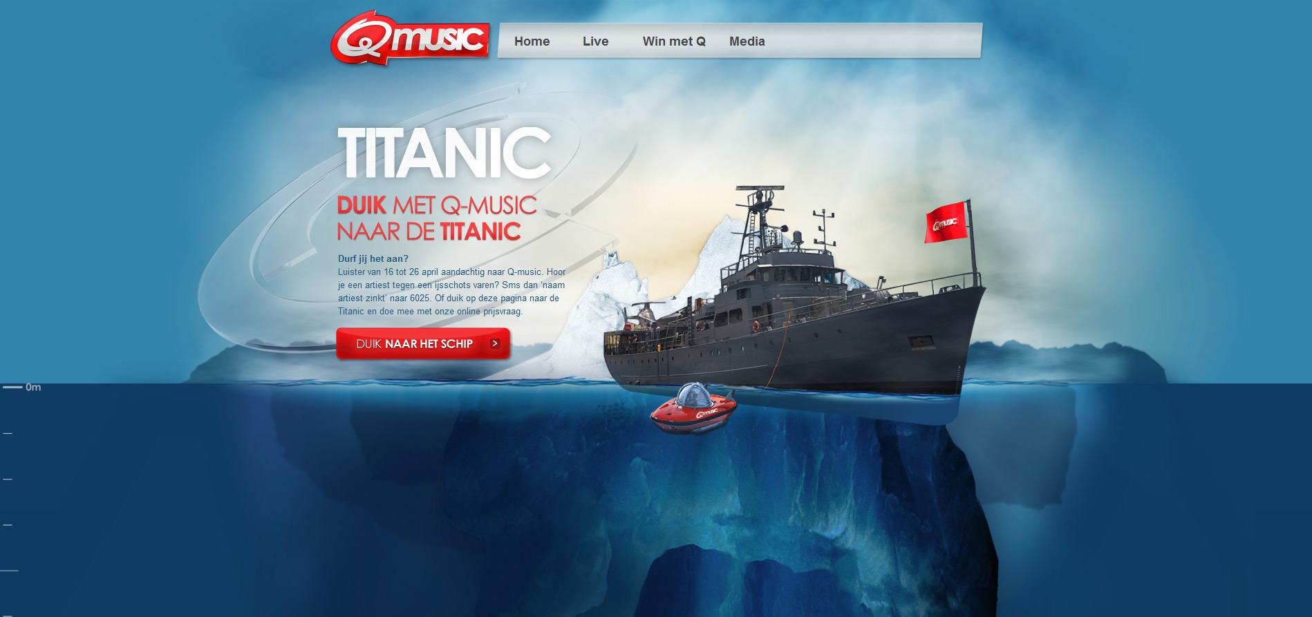 Q Music Titanic One Page Website Award