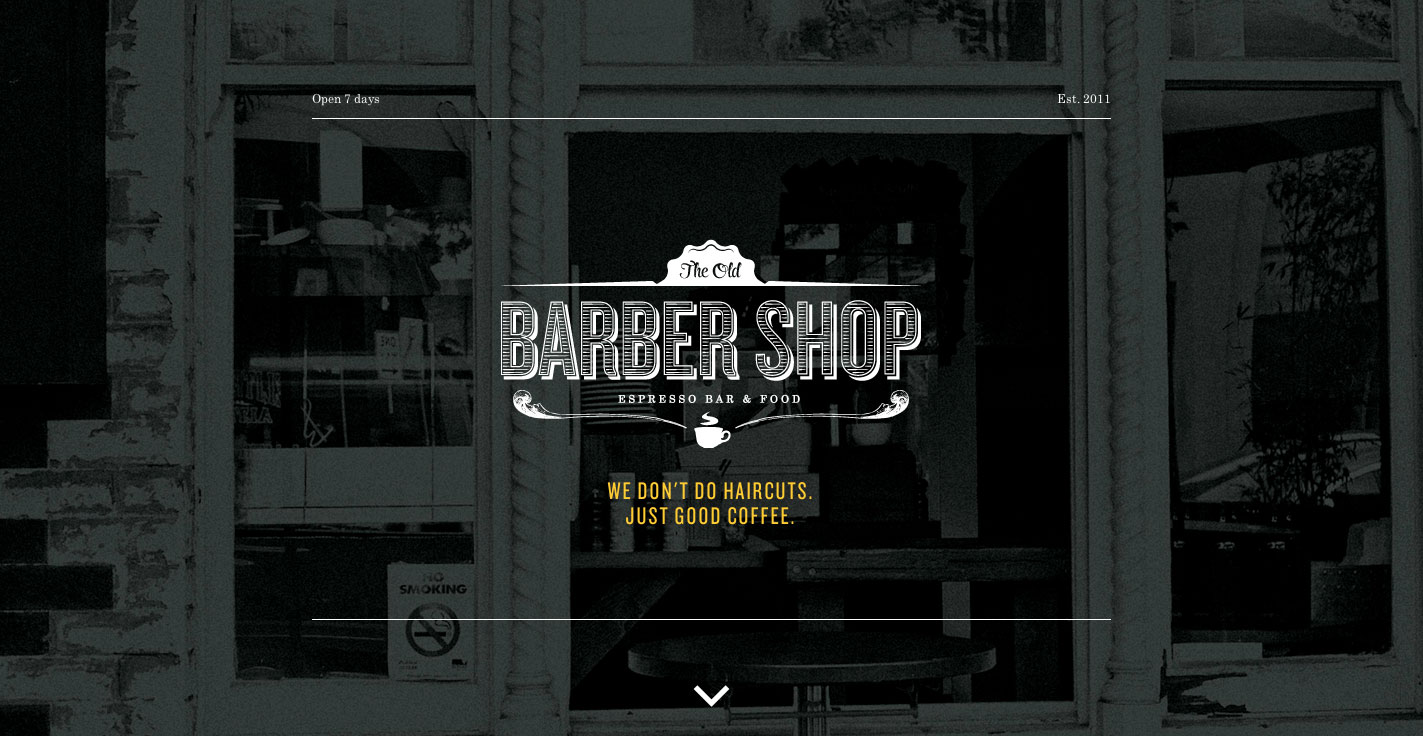 The Old Barber Shop One Page Website Award