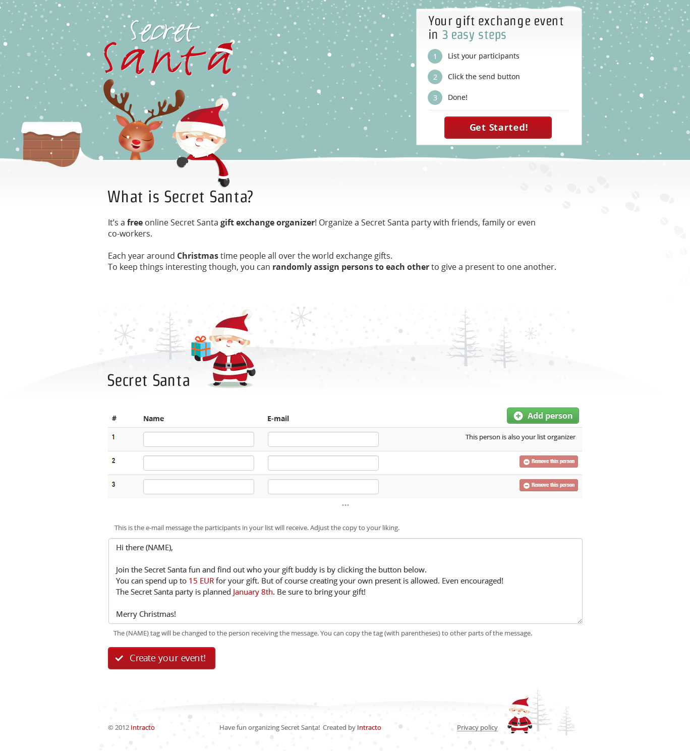 Secret santa one page website award for Secret santa email template