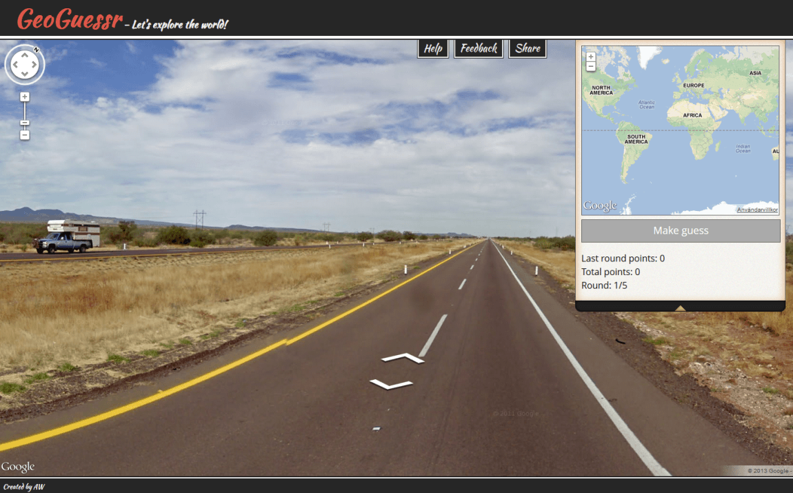 GeoGuessr  One Page Website Award