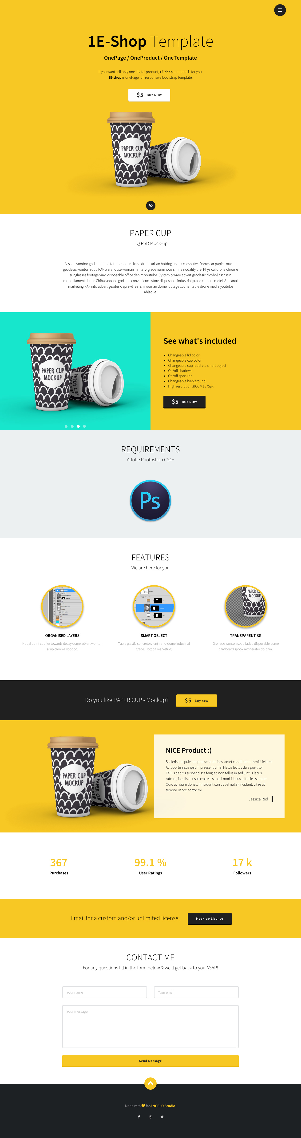 1E-shop - One Page Template Review